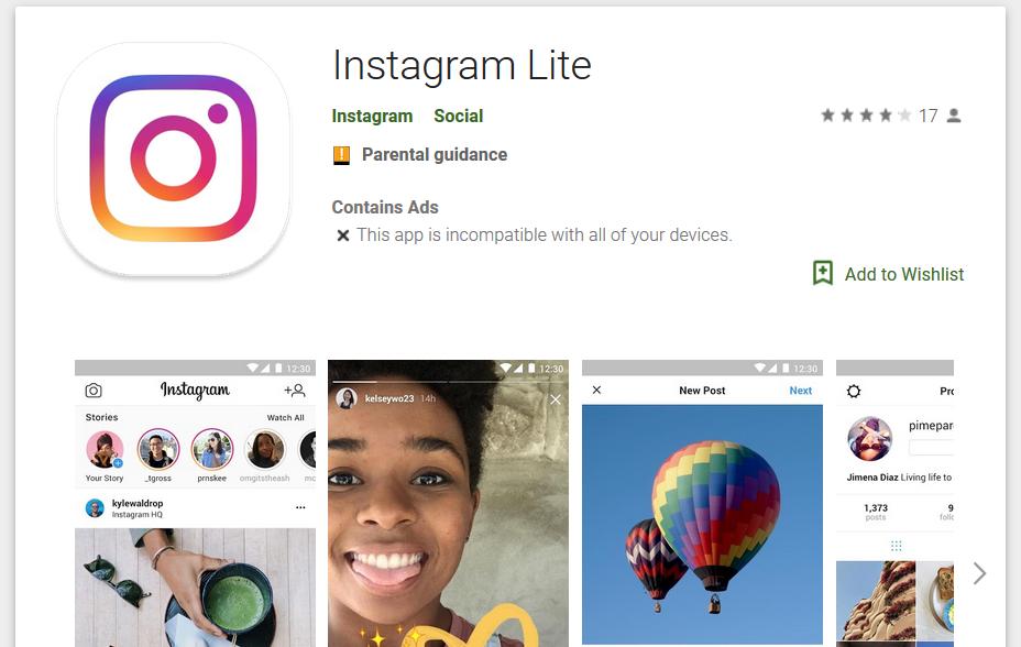 Instagram Lite - Naslovna
