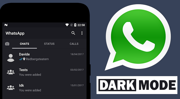 WhatsApp dark mode Android iOS - Naslovna
