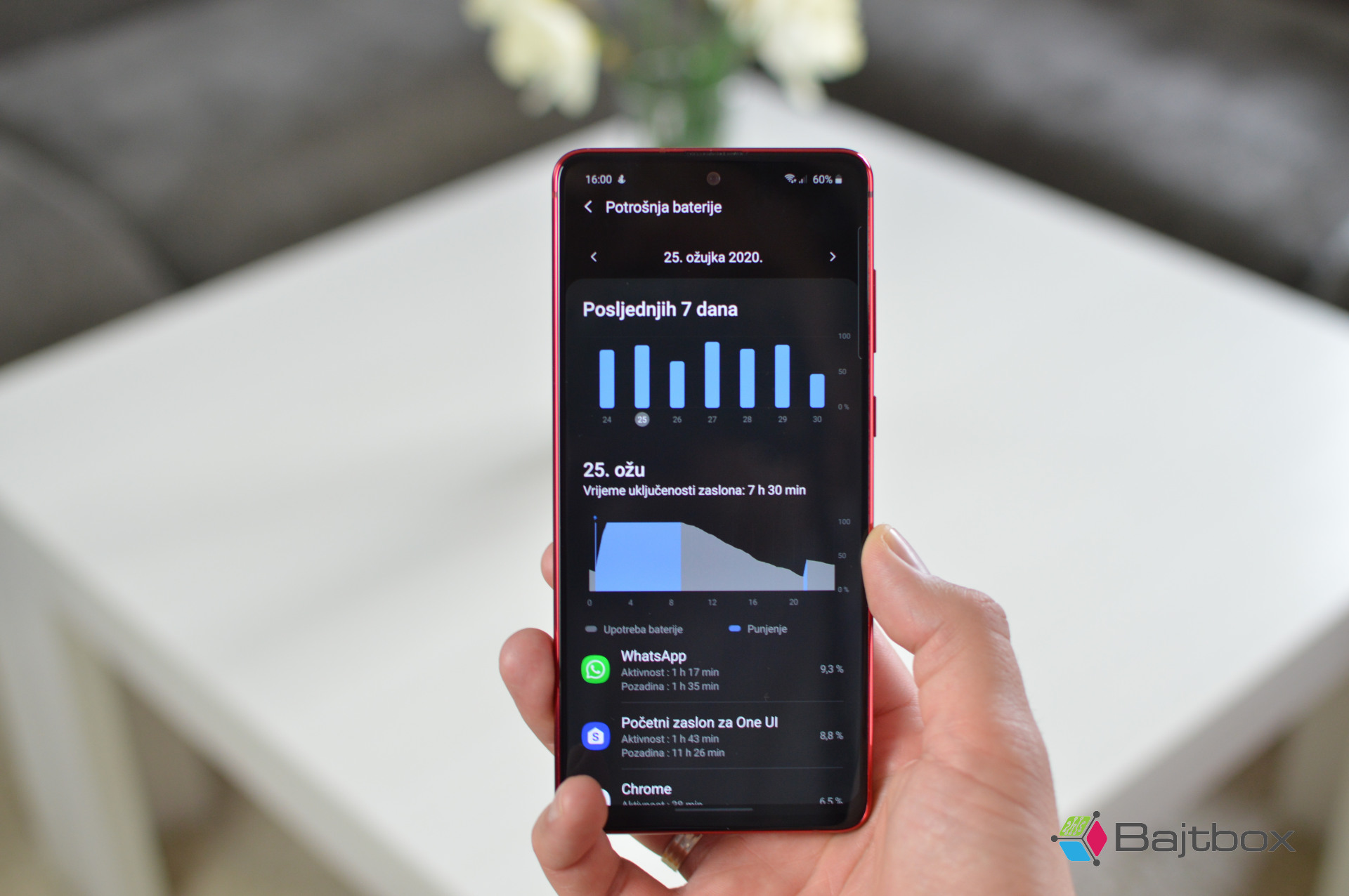 Samsung Galaxy Note 10 Lite recenzija baterija