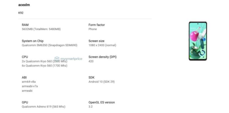 LG K92 5G specifikacije detalji