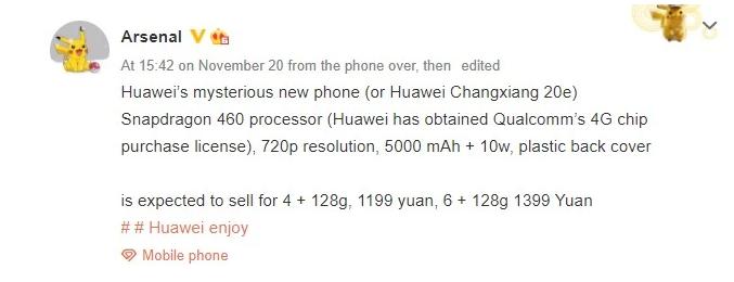 Huawei Enjoy 20e prvi Huawei telefon sa Snapdragon čipom